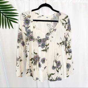 OLD NAVY White Floral Print Boho Top
